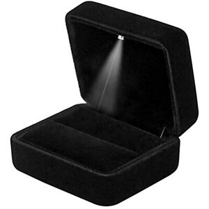 Velvet Ring Box With Led Light Jewelry Display Gift For Proposal Engagement