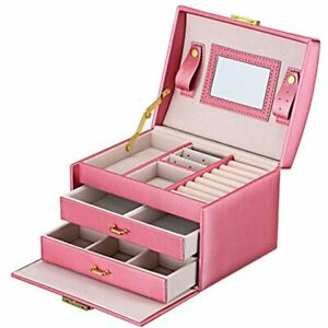 Jewelry Box Leather Earring Rings Organizer Mirrored Display Case Gift For Women