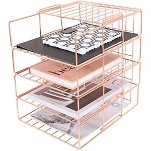 Paper Tray 4 Tier Stackable File Decorative Desk Organizer Rack For Office And