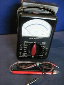 Vintage Triplett 630 a Multimeter With Test Leads And Original Case