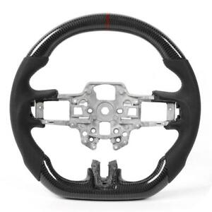 Carbon Fiber Steering Wheel Preforated Leather W Stitching Fit For Ford Mustang