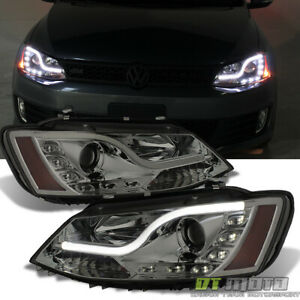 Smoked 2011 2017 Vw Jetta Led Light Tube Drl Projector Headlights Left right Set