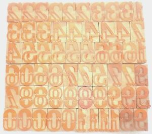 Letterpress Letter Wood Type Printers Block numarical Number 60 Piece bc 1955
