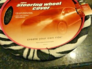 New Car Steering Wheel Cover Sexy Zebra Wild Animal Striped Safari White Black