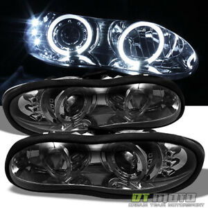 Smoked 98 02 Chevy Camaro Dual Halo Projector Led Headlights Lights Left Right