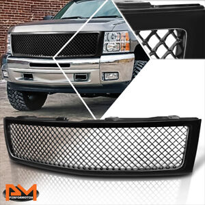 For 07 13 Chevy Silverado 1500 Mesh Style Abs Plastic Front Bumper Grille Black