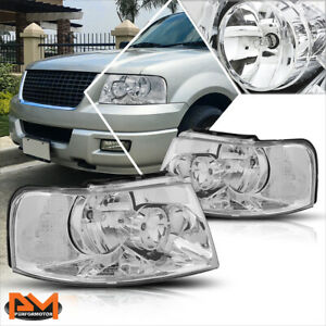 For 03 06 Ford Expedition Chrome Housing Headlight Clear Side Corner Lamps Pair