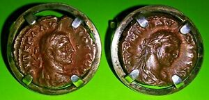 Ancient Coins Of Alexandria Egypt Silver Cufflinks Vf Claudius L Roman Egyptian