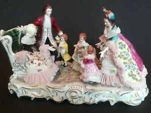 Large Dresden Muller Volkstedt Porcelain Lace Figurine Happy Family Ireland