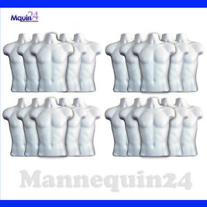 20 White Mannequin Male Torsos With 20 Hangers Men Hanging Dress Body Forms
