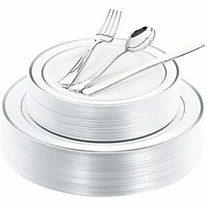 40guest Silver Plastic Plates With Disposable Silverware Tableware Sets Include