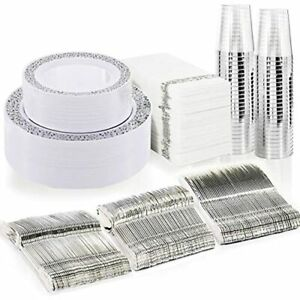 350pcs Silver Plastic Plates With Disposable Silverware amphand Napkins Lace