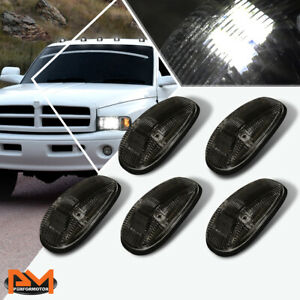 5pcs Cab Roof Running Light Smoked Housing White Led For 99 01 Dodge Ram Truck