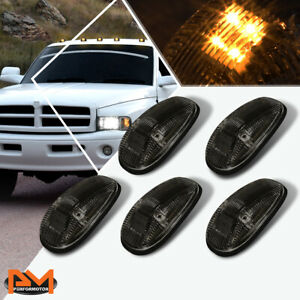 5pcs Cab Roof Running Light Smoked Housing Yellow Led For 99 01 Dodge Ram Truck