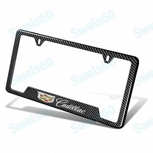 New 1 Pc For Cadillac Carbon Fiber Look License Plate Frame Abs Laser Style Logo
