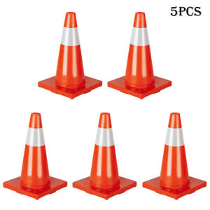 Orange Safety Traffic Cones 5pcs Of Set 18 Inch Trucks And Road Safety Us Stock