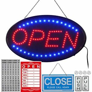 Led Open Sign 23x14inch bigger Size Business Include Hours And Open close For