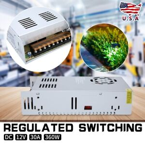 Dc 12v 30a Regulated Switching Power Supply 360w For Led Strip Light White Us