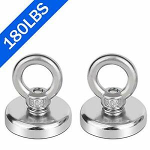 Neodymium Fishing Magnets 2 Pack 180lbs Pulling Force Strong Round Rare Earth