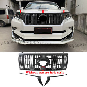 Glossy Black Front Grilles For Toyota Prado 2018 2020 Without Camera Hole Style