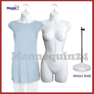 2 Pcs Of Female Body Mannequin Body Forms white 1 Table Top Stand 2 Hangers