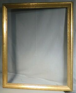 Vintage Arts Crafts Bronze Leaf Gilt Gilded Gold Picture Frame 22x28 Antique