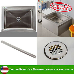 25 Stainless Steel Commercial Utility Mop Floor Compartment Sink Bowl Nsf List