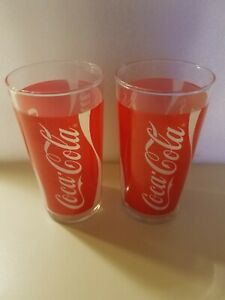 Vintage Coca Cola glasses red and white logo set of two
