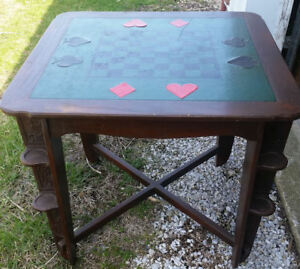 Romweber Leather Top Oak Game Card Table