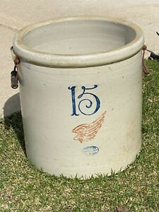 Antique Red Wing Stoneware Crock 15 Gallon Bailed Handles Large Logo