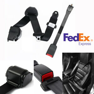 Us Shipping 3 Point Car Retractable Safety Seat Belt Lap And Diagonal Belt Black