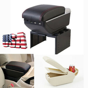Us Shipping Double Layer Car Armrest Storage Box Cup Holder 9 Usb Charging Port