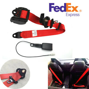 3 Point Retractable Car Safety Seat Belt Lap Diagonal Belt Red Nylon Straps