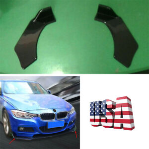 1pair Racing Car Modified Bumper Splitters Glossy Black Abs Protector Diffuser