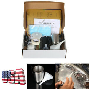 12v Car Headlight Restoration Kit Yellowing Scratch Repair Tools Atomization Cup
