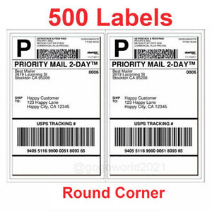 500 Shipping Labels Rounded Corners 2 Per Sheet 8 5 X 11 Self Self Adhesive Us