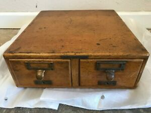 Antique Library Bureau Sole Makers 2 Drawer Index Card Catalog Cabinet