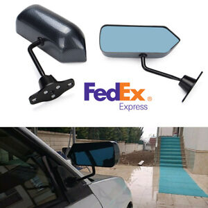 1pair Carbon Fiber Auto Car Rear View Side Mirror Blue Surface With Accessories