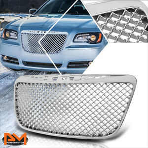 For 11 14 Chrysler 300 Mesh Style Abs Plastic Front Bumper Grille Frame Chrome