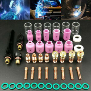 49pcs Tig Welding Torches Gas Lens 10 Heat Glass Cup Tools For Wp 17 18 26 Set