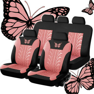 9pcs Full Set Car Seat Covers For Interior Accessories Front Rear Black Pink