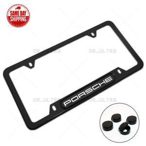 For Porsche License Frame Plate Cover Stainless Steel Chrome Sport Black