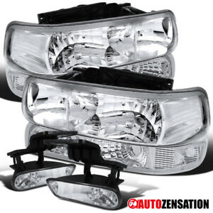 For 99 02 Silverado 00 06 Tahoe Suburban Clear Headlights bumper fog Lamps