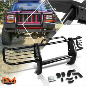 For 84 01 Jeep Cherokee Xj Suv Bumper Brush Grille Guard Protector Coated Black