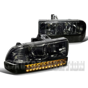 For 1998 2004 Chevy S10 Blazer Pickup Clear Headlights Led Bumper Lamps Pair