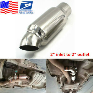 Stainless Steel Car Exhaust Pipe Resonator Silencer Muffler 2 Inlet To 2 Outlet