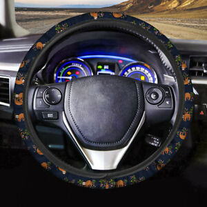 Blue Steering Wheel Cover Cute Sloth Printed Atuo Anti dust Covers Interior Fit