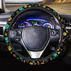 Black Steering Wheel Cover Animal Foot Print Atuo Interior Universal Fit Comfor