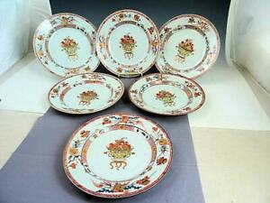 6 Antique Early 19th C Chinese Export Porcelain Plates Fruit In Bowl