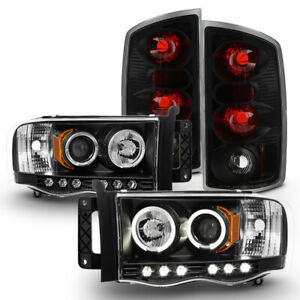 Black 2002 2006 Dodge Ram 1500 Led Halo Projector Headlights tail Lights Lamps